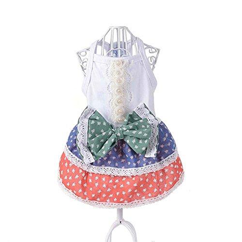 cuepa Kleine Hund Kleid Sommer pastoralismus Prinzessin Rock Kleider Teddy Pudel Yorkshire Kleidung Hunde Kostüme (Pudel Rock Kostüm Für Hunde)