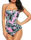 UNibelle Damen Schwimmanzug Neckholder Bandage Bademode in großen Größen Grün XL