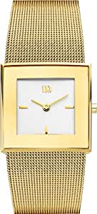 Danish Design Women's Quartz Watch with White Dial Analogue Display and Gold Stainless Steel Strap DZ120136