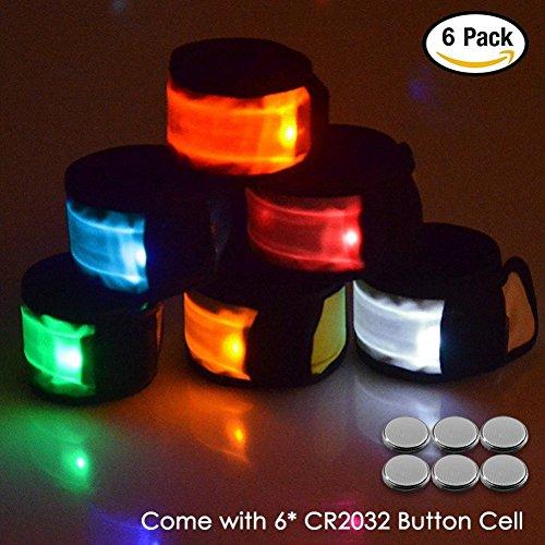 Senhai LED Slap Armbänder Handgelenk Licht für Laufen Reiten Spazierengehen, Packung mit 6 Armbinden Glow-Snap-Armbänder, 6 verschiedene Farben (Slap Wrap)