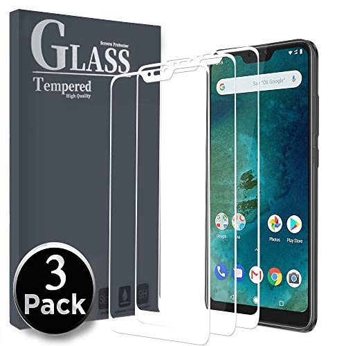 Ferilinso Cristal Templado para Xiaomi Mi A2 Lite, [3 Pack] [Cubierta Completa] Protector de Pantalla Screen Protector con garantía de reemplazo de por Vida para Xiaomi Mi A2 Lite (Blanco)