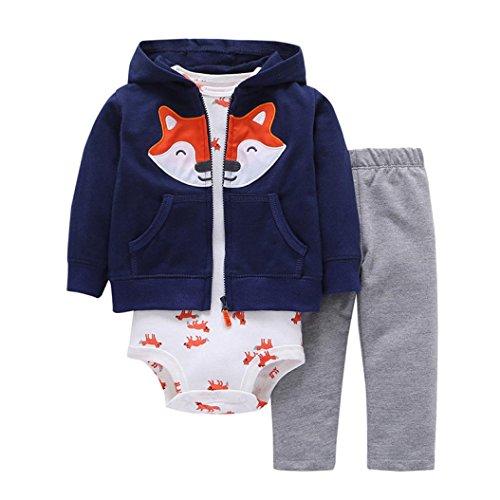 OVERDOSE 3PCS Neugeborenes Baby Mädchen Jungen Fox Print Cartoon Druck Hoodie Jacke Mantel + Hosen + Strampler Weihnachten Outfits Set(6 Monate,Navy)
