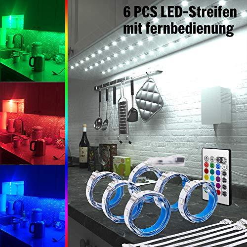 RGB LED Unterbauleuchte, 6 PCS x 50cm LED Strip Schrankleuchte Set, Farbwechsel Lichter mit 24-Tasten-Fernbedienung und Netzteil DIY Schrank, Schreibtisch, Fernseher, Regal Led Streifen Beleuchtung