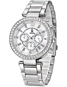 Alienwork Quarz Armbanduhr Multi-funktion Quarzuhr Uhr modisch Strass weiss silber Metall K005LA-02