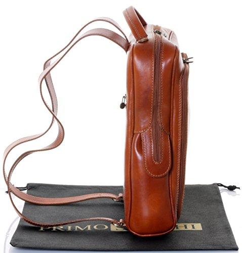 Luxury Italian Leather Ladies stile classico torna Pack zaino borsa portadocumenti Tracolla.Fornita nella pratica custodia protettiva marca Tan