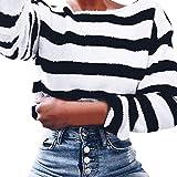 MEIbax Damen Winter Warm Langarm Gestreift Lässige Sweatshirt T-Shirt Pullover Bluse Plüsch Jumper Strick Oberteile