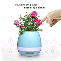 Music Flowerpot, BOLWEO LED Flowerpot Smart Touch Music Plant Lamp with Wireless Bluetooth Speaker Piano Music Playing Flower Pots Multi-color LED Night Light for Bedroom,Office,Living Room (Blue)