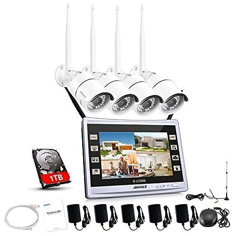 Annke 960P Funk 4CH 11'1 ZOLL Wireless Videoüberwachung Monitor Überwachungssystem