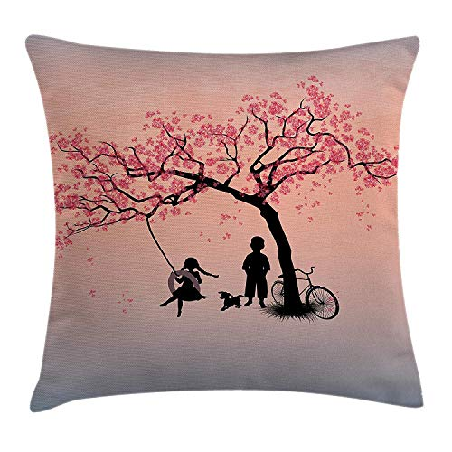 Tree of Life Throw Pillow Cushion Cover, Children Playing on a Tire Swing Under Cherry Tree with Dog Blossom Spring Art, Decorative Square Accent Pillow Case, 26 X 26 inches, Pink Black