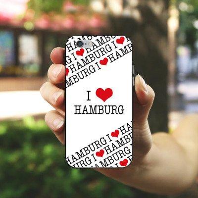 Apple iPhone X Silikon Hülle Case Schutzhülle Hamburg Herz Love Silikon Case schwarz / weiß