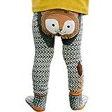 mioim Baby Butt Thermo-Strumpfhose Kinder Jungen Mädchen Leggings Hose Strumpfhosen Winter Baumwolle Pants mit Socken Schwarz-grauer Löwe 80 cm