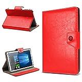 Odys Pluto 7 Tablet Schutzhülle Hülle Case Tasche Schutz Stand Cover UC-Express 9 verschiedenen Farben hochwertiges Kunstleder Cover Case Universal , Farben:Rot