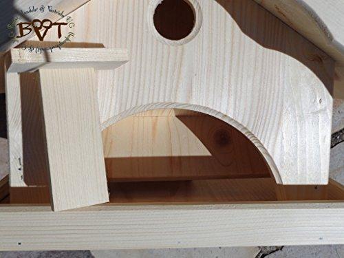 Vogelhaus XXL,MIT Nistkasten,K-VONI5-LOTUS-LEFA-dbraun002,groß,wetterfest,PREMIUM-Qualität,Vogelhaus,mit wasserabweisender LOTUS-BESCHICHTUNG VOGELFUTTERHAUS + Nistkasten 100% KOMBI MIT NISTHILFE für Vögel WETTERFEST, QUALITÄTS-SCHREINERARBEIT-aus 100% Vollholz, Holz Futterhaus für Vögel, MIT FUTTERSCHACHT Futtervorrat, Vogelfutter-Station Farbe braun dunkelbraun schokobraun rustikal klassisch, Ausführung Naturholz MIT TIEFEM WETTERSCHUTZ-DACH für trockenes Futter - 7