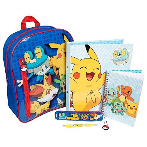 Pikachu-froakie-Fennekin-chespin-36-cm-Mochila-con-Stationery–Set