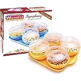 WONDER Plastic Symphony 4 AIRTIGHT Serving Bowl Serving Set With Tray Diwali Gift Set