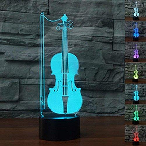 3D Die gitarre geige Nachtlampe 7 Farben ändern Touch Control LED Schreibtisch Tisch Nachtlicht mit bunten USB Powered für Kinder Kinder Familie Ferienhaus Dekoration Valentinstag Geschenk