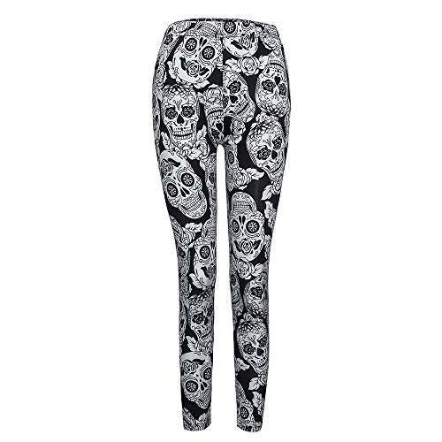 Goldatila Damenhose Damen Halloween Skull Print Hose Aushöhlen Kostüm Leggings Workout Laufhose Yogahose Lady Skinny Print Stretchige Jegginghose Schlanke Geometrische ()