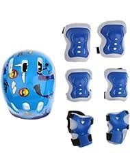Niños Casco Rodilla Codo Muñeca Juego De Almohadillas De Protección Para Patinaje En Línea Moto - Azul