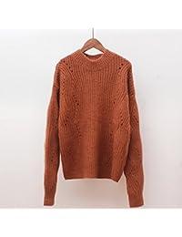 SZYL-Sweater Punto de cuello alto medio suelto flojo de las mujeres acolchado Sra. Cuello alto, camello, un tamaño
