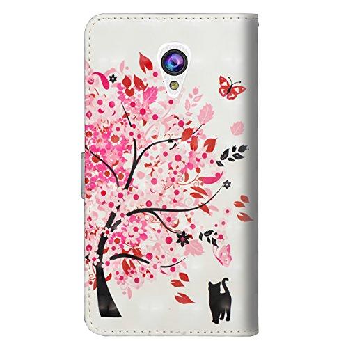 sinogoods Für Alcatel U5 3G / 4047D / 4047 Hülle, Premium PU Leder Schutztasche Klappetui Brieftasche Handyhülle, Standfunktion Flip Wallet Case Cover - Eine Katze unter Einem Baum