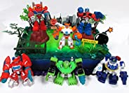 Transformers 16 Piece Birthday Cake Topper Set Featuring Optimus Prime and Friends with Decorative Themed Acce