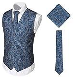 WHATLEES Herren Klassische Paisley Floral Jacquard Weste & Krawatte und Einstecktuch Weste Anzug Set BA0213-Navy-M