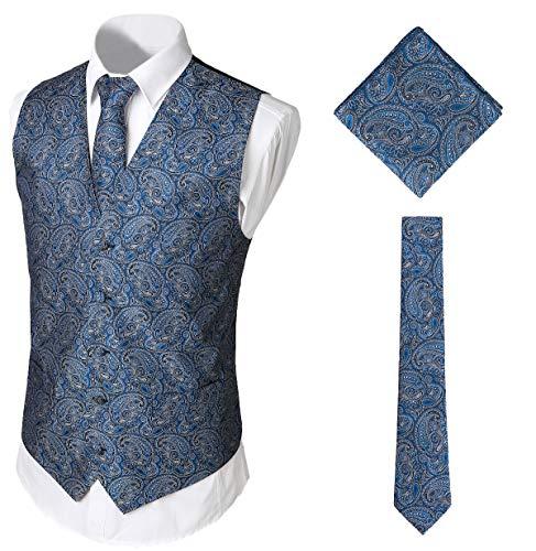 WHATLEES Herren Klassische Paisley Floral Jacquard Weste & Krawatte und Einstecktuch Weste Anzug Set BA0213-Navy-XXL Floral Vintage-weste
