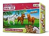 CRAZE- Bibi e Tina Bibi & Tina Set Gioco Figure Set di 3 Pony per Giocare e Collezionare Snoopy Max Moritz 14691, Multicolore