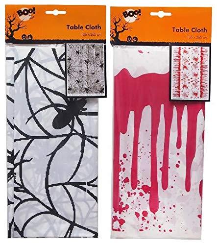 All For You Halloween 136 (L) x 265 (B) cm Gruselige Tischdecke Dekoration Party Zubehör Spinnennetz blutig rot schwarz Fancy Scene Setter Requisiten Leckerli Trick Gruselig faltbar