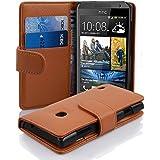 Cadorabo - Funda HTC DESIRE 300 Book Style de Cuero Sintético en Diseño Libro - Etui Case Cover Carcasa Caja Protección con Tarjetero en MARRÓN-COGNAC