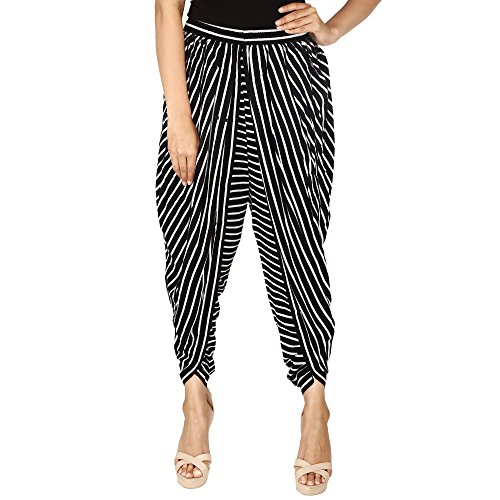 Black & White Striped Color Rayon Dhoti Pant, Patiala Dhoti Salwar for...