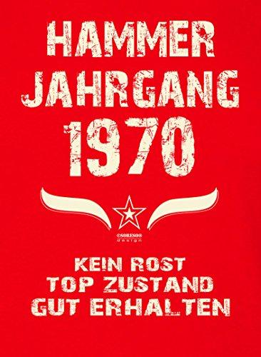 Geschenk zum 47. Geburtstag :: Hammer Jahrgang 1970 : Frauen Mädchen Girlie Kurzarm Damen T-Shirt - Geschenkidee Geburtstagsgeschenk Geschenkset Farbe: rot Rot