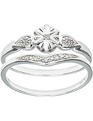 Ensemble Bague de fiançailles et alliance Femme - PR09820W-K -  Or Blanc 375/1000 (9 Cts) 2.3 Gr - Diamant