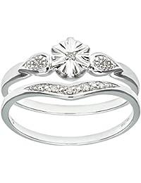 Naava 9ct White Gold 0.03ct Diamond Bridal Set Star Ring