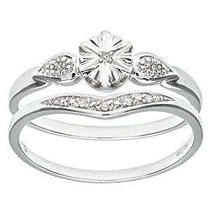 Ensemble Bague de fiançailles et alliance Femme - Or Blanc 375/1000 (9 Cts) 2.3 Gr - Diamant - T 49
