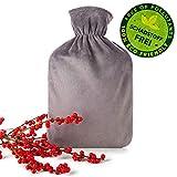 Blumtal Wärmflasche mit weichem Bezug - 2L Wärmeflasche, Bettflasche, Wärmflasche Kinder, grau