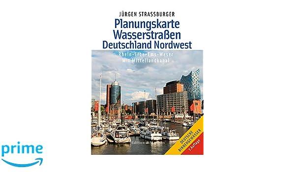 Gewässerkarte Deutschland Nordwest Rhein Elbe Ems Weser mit Mittellandkanal NEU