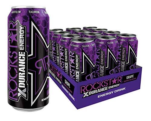 Rockstar Energy Drink XDurance Grape, Koffeinhaltiges Erfrischungsgetränk für den Energie Kick, einweg (12x 500ml)