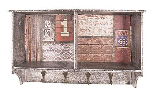 Wandgarderobe mit zwei Ablagefächern und 4 Garderobenhaken in Vintage