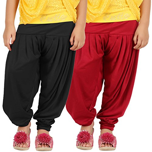 Goodtry Girl's Viscose patiala Pack of 2 Black-Red