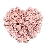 Pingenaneer 50 Stück Schaumrosen Schöne Kunstblume Hochzeit Deko künstlicher Blumen für Hochzeitsdeko und Tisch Dekoration Durchmesser: 8cm , Länge: 18cm Rosa