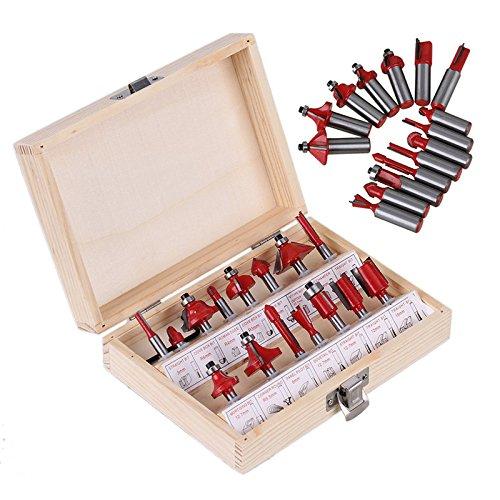 1/10,2cm 6,35mm 15Stück Hartmetall Schaft Holz Router Set Holz Cutter Teppichmesser bilden Fräser mit praktischer Holz Fall ()