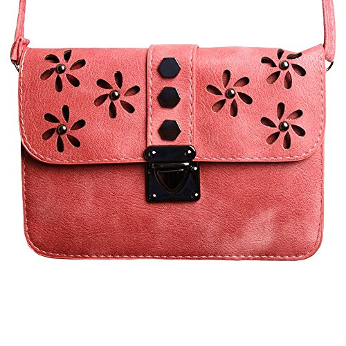 CellularOutfitter Crossbody Clutch - Laser-Cut Studded Flower Design w/ Detachable and Adjustable Strap - Coral Pink (Studded Bag Travel)