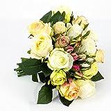 artplants Künstlicher Rosenstrauß Große-Molly, 15 Rosen, 9 Knospen, Creme-Aprikose, 28 cm, Ø 25 cm - Blumenstrauß/Kunstrosen