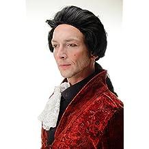 WIG ME UP ® - 4287-P103 Peluca Halloween Carnava Barroco negro coleta noble poeta condo Dracula vampiro