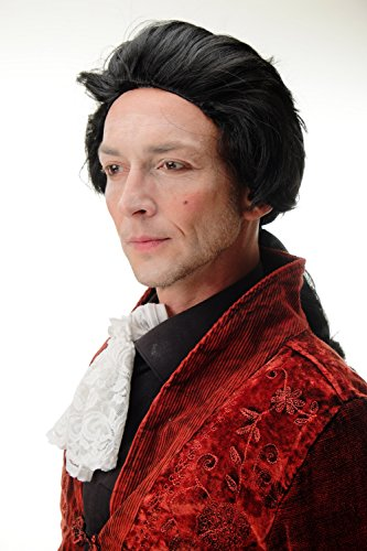 Wig me up ® -4287-p103 parrucca carnevale halloween nero coda barocco nobiluomo poeta principe conte vampiro dracula
