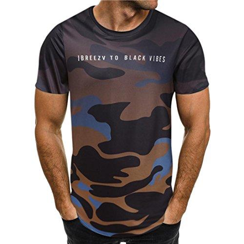 ASHOP Mode Persönlichkeit Camouflage Herren Casual Schlank Kurzarm-Shirt Top Bluse (XXL, Braun)