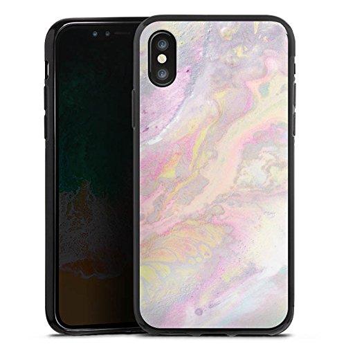 Apple iPhone 4s Silikon Hülle Case Schutzhülle Wasserfarben Muster Pastell Silikon Case schwarz