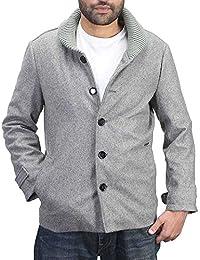 Bareskin men's grey plain classic woolen coat