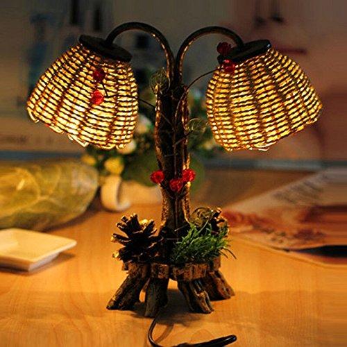 SQDTNSLT-Pine lo stampaggio a doppia lampada da tavolo antico giardino